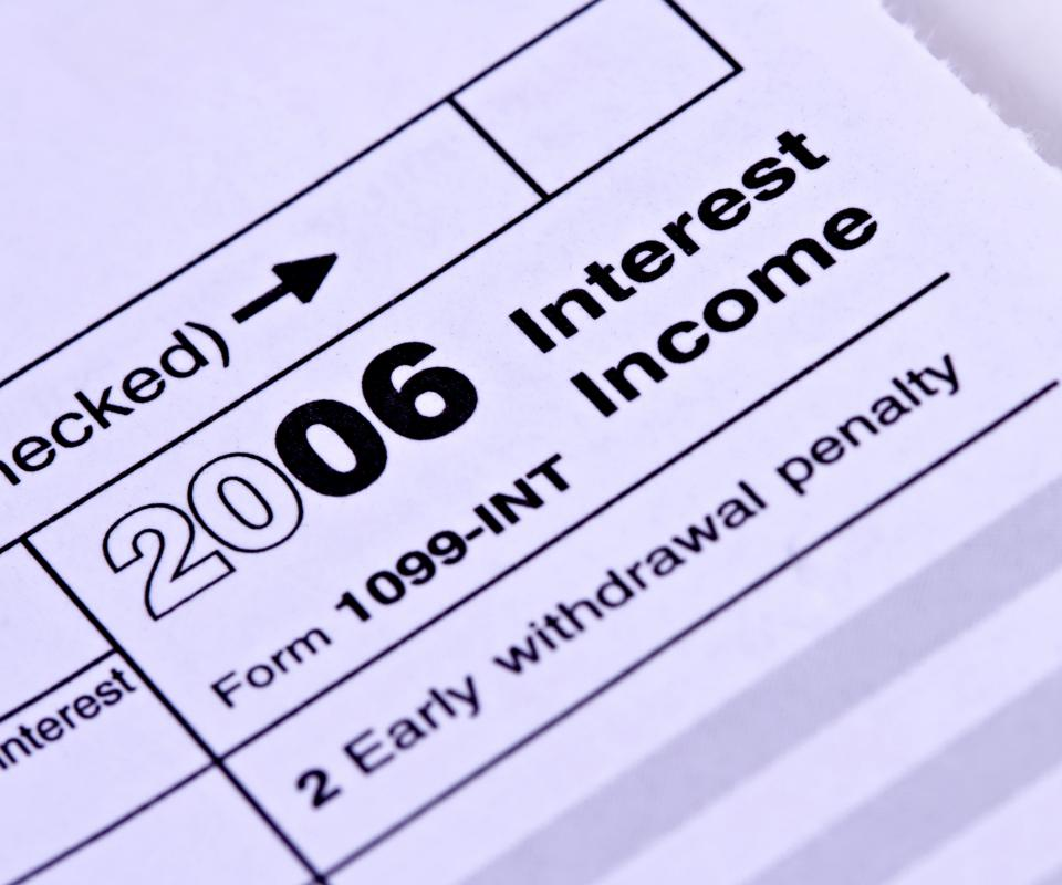 A 1099-INT or 1099-DIV form is required when a person earns more than $10.00 of interest to report this income to the IRS.