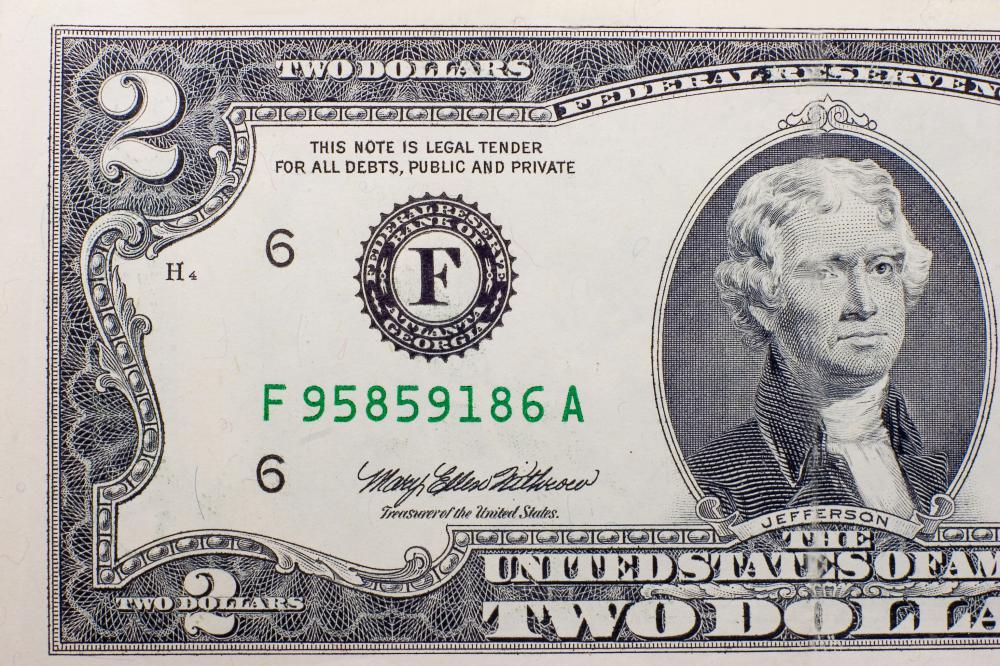 A $2 USD bank note.