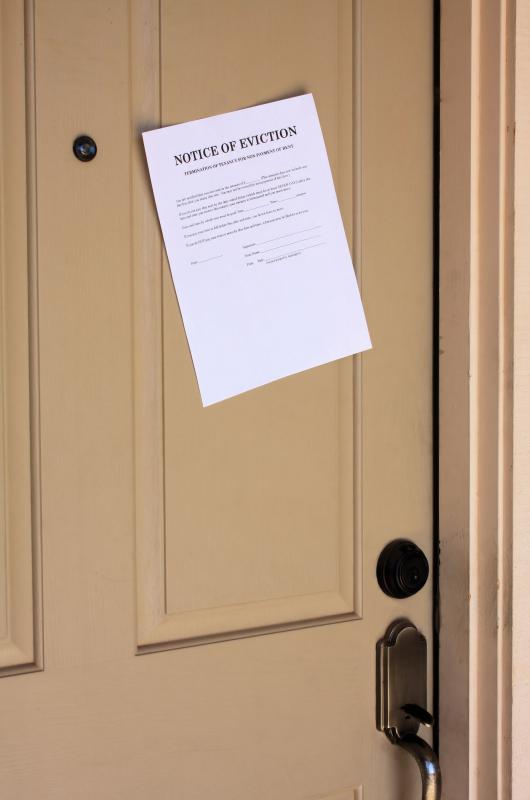 A 30-day notice of eviction is usually posted on an apartment's door.