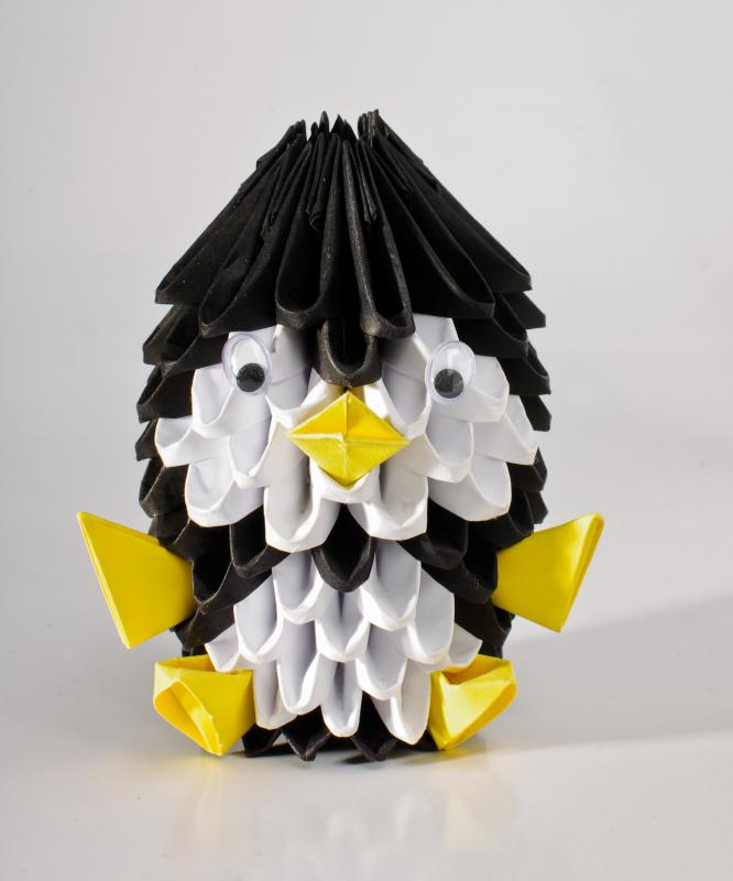Origami art involves folding paper into objects and figures.