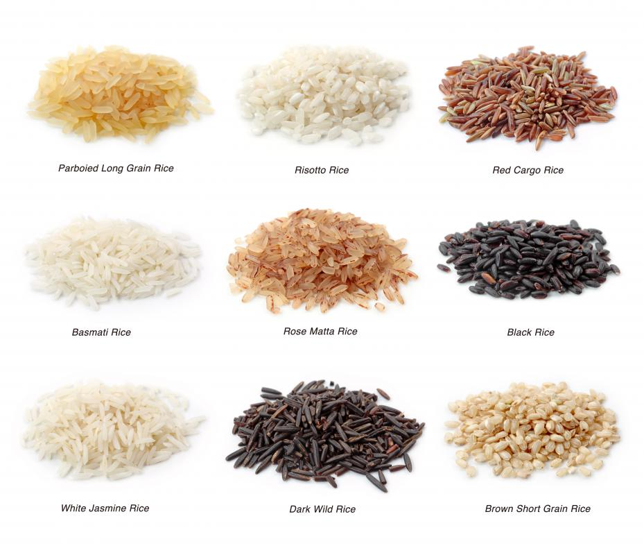 Different types of rice, including basmati rice, which is typically used to make biryani.