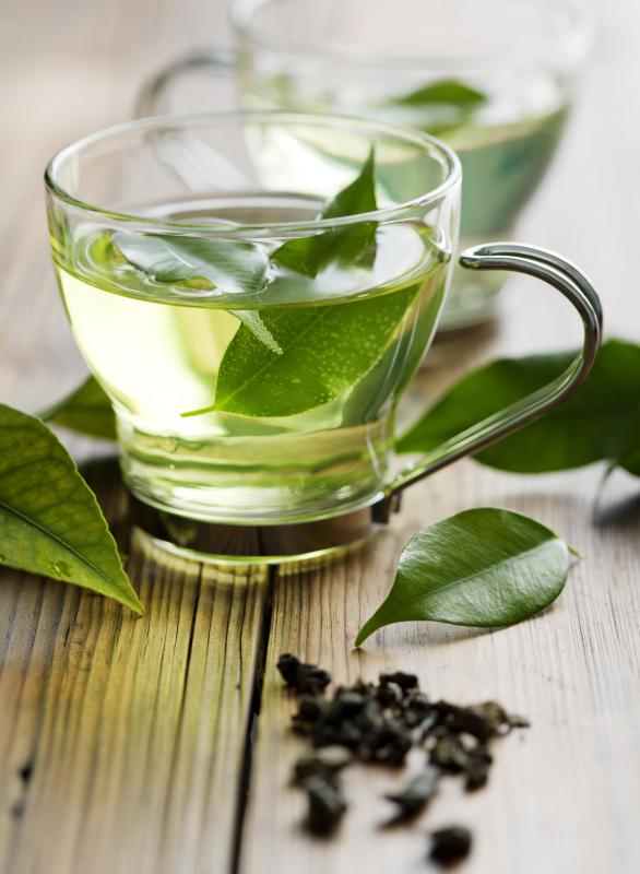 Green tea contains 24-40 mg per eight ounce cup and helps alleviate drowsiness.