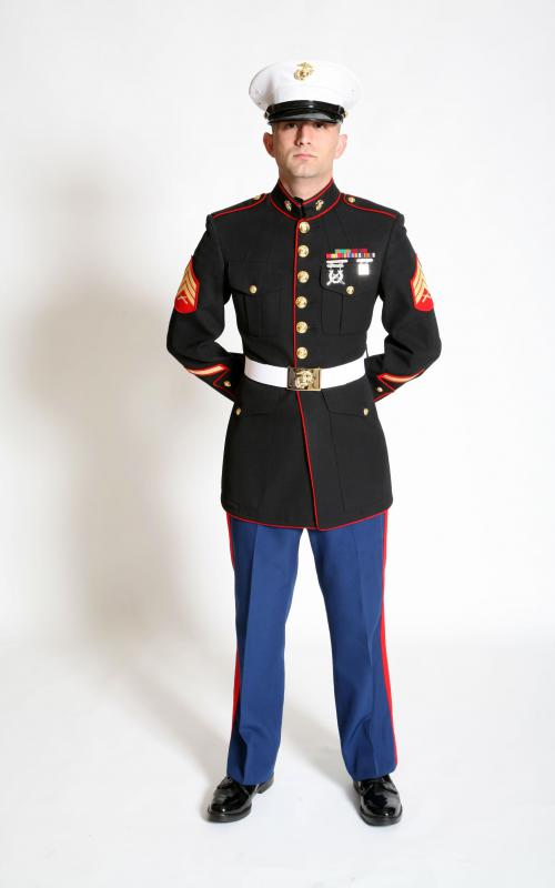 A member of the US Marine Corps in dress uniform.