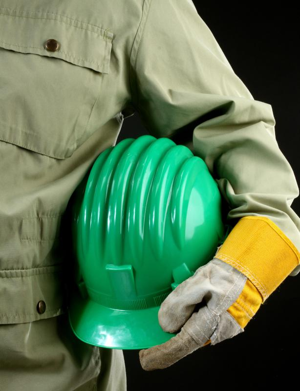 A refrigeration mechanic's safety equipment may include hard hats and gloves.