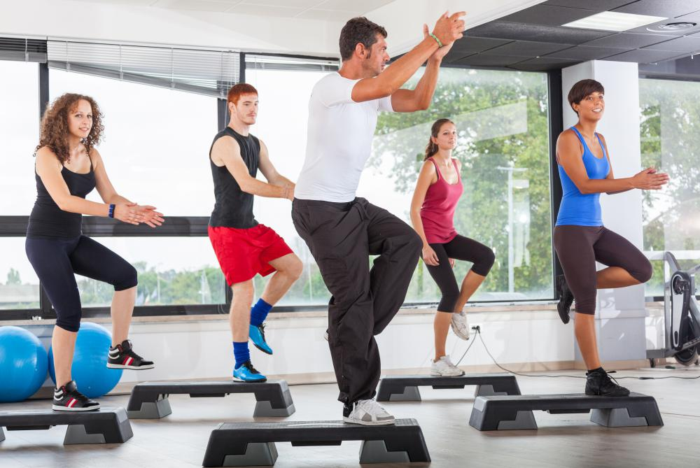 Step aerobics are often synchronized to the beat of different songs.