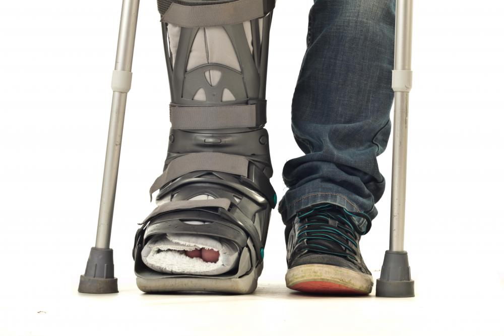 Air cast boot may be used with crutches.