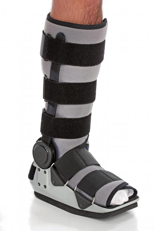 One common use of a walking brace is to help someone who is recovering from a fracture.