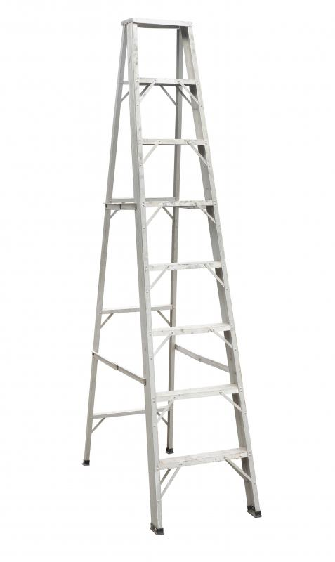 Every leg of a step ladder must be placed on an even surface so that the ladder is stable and level.