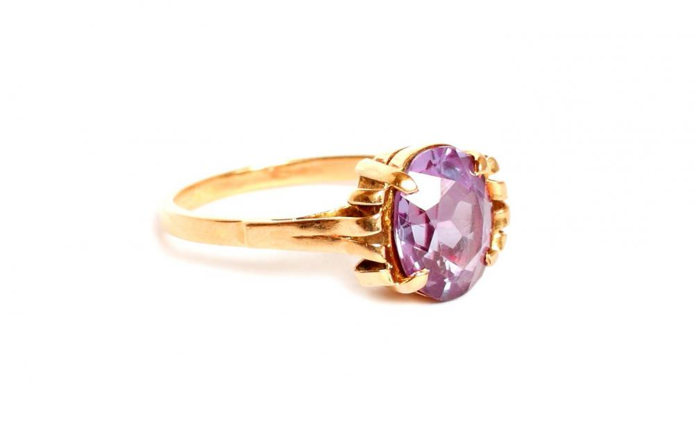 Promise rings often feature gems such as amethyst.