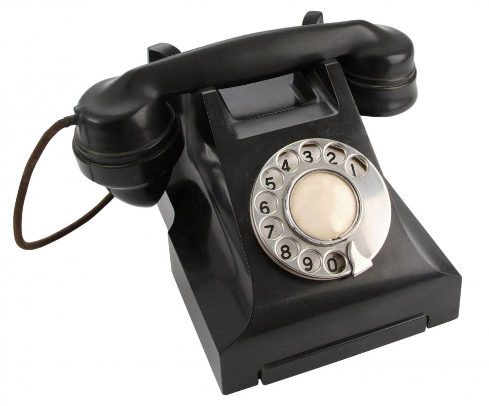 An old telephone made out of Bakelite®, a phenolic resin.