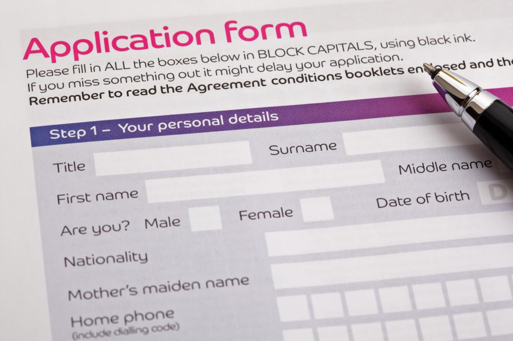 A student loan application form.