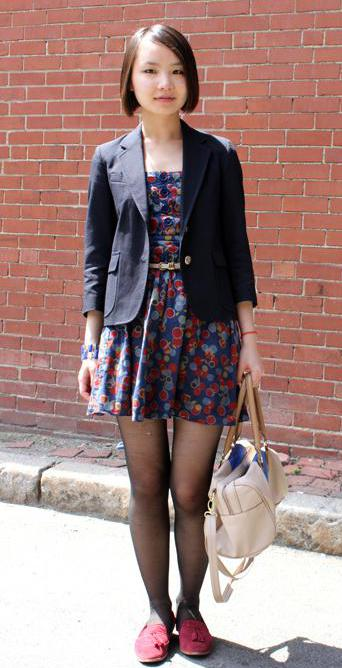 A blazer can pair nicely with a dress.