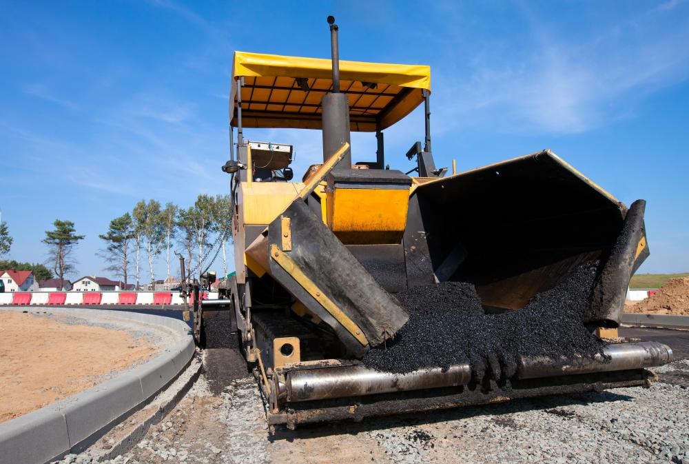 Roads are often constructed in layers that can include asphalt.