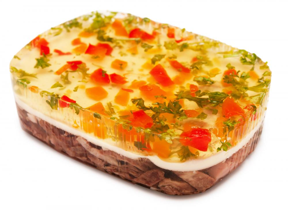 Aspic is a jelly made from beef, pork, poultry, or fish.