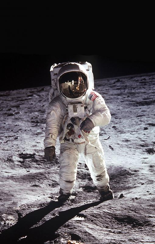 US astronaut Buzz Aldrin wears a space helmet on the Moon.