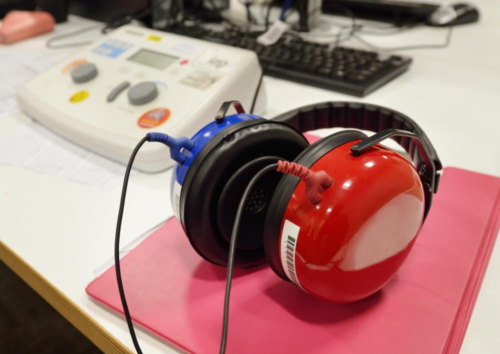 An audiometer may be used by audiologists and ear, nose and throat doctors to measure the acuity of hearing.