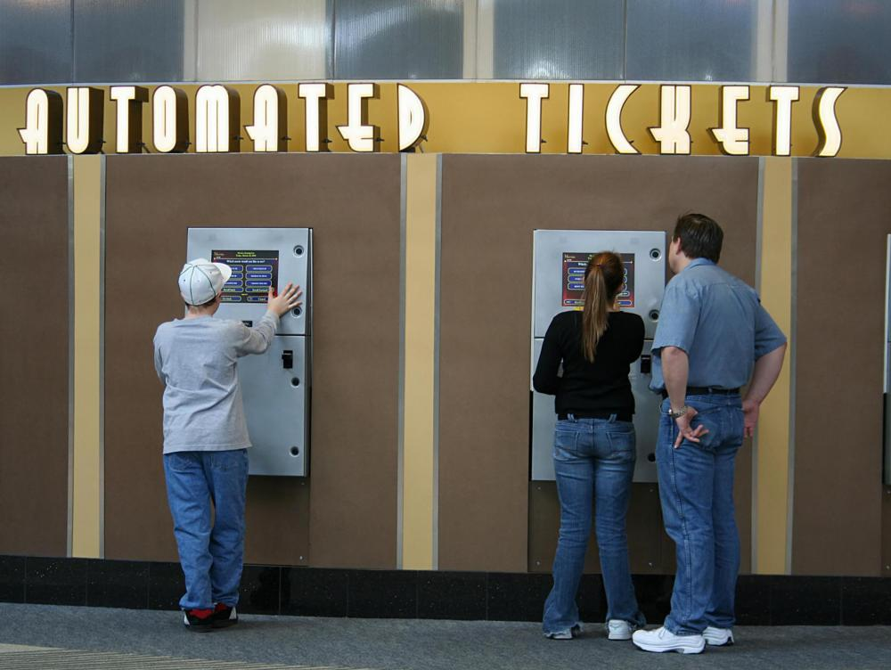 A self service kiosk is common for buying tickets at a variety of venues.