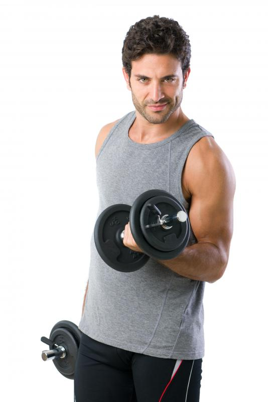 Some people use free weights to build up muscle.