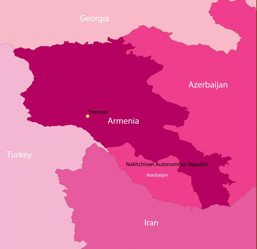 Azerbaijan has a small exclave section, separated from its main body by Armenia.