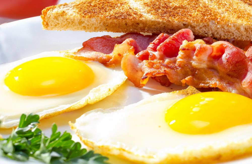 Turkey bacon may be served with eggs.