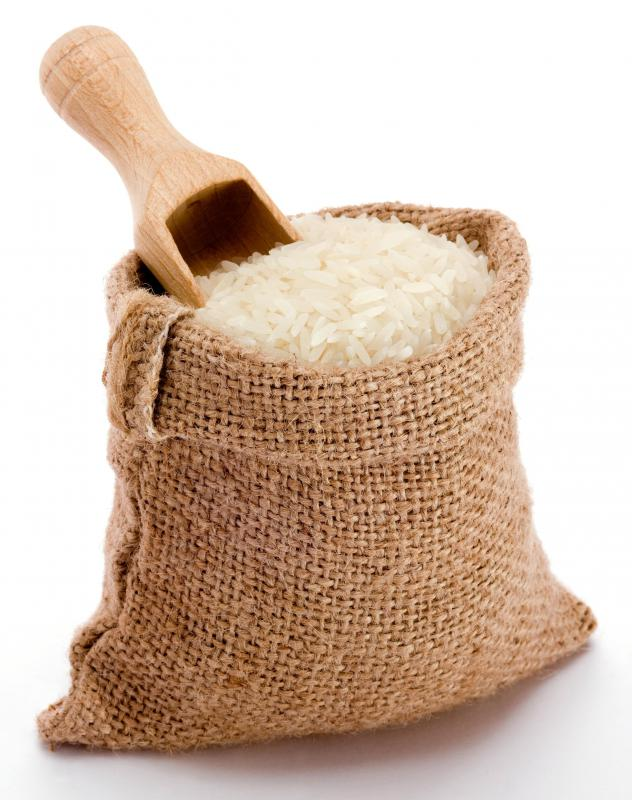 Uncooked medium grain rice.