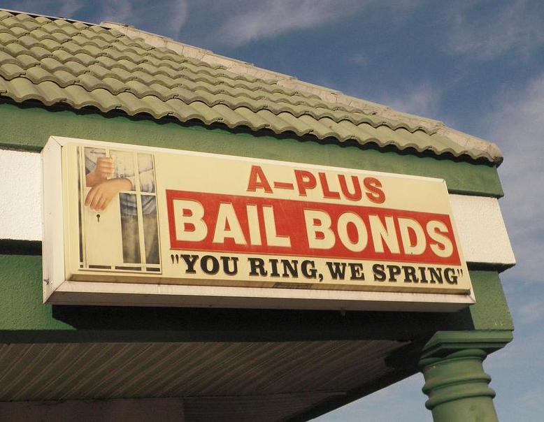 Bail bonds storefront.
