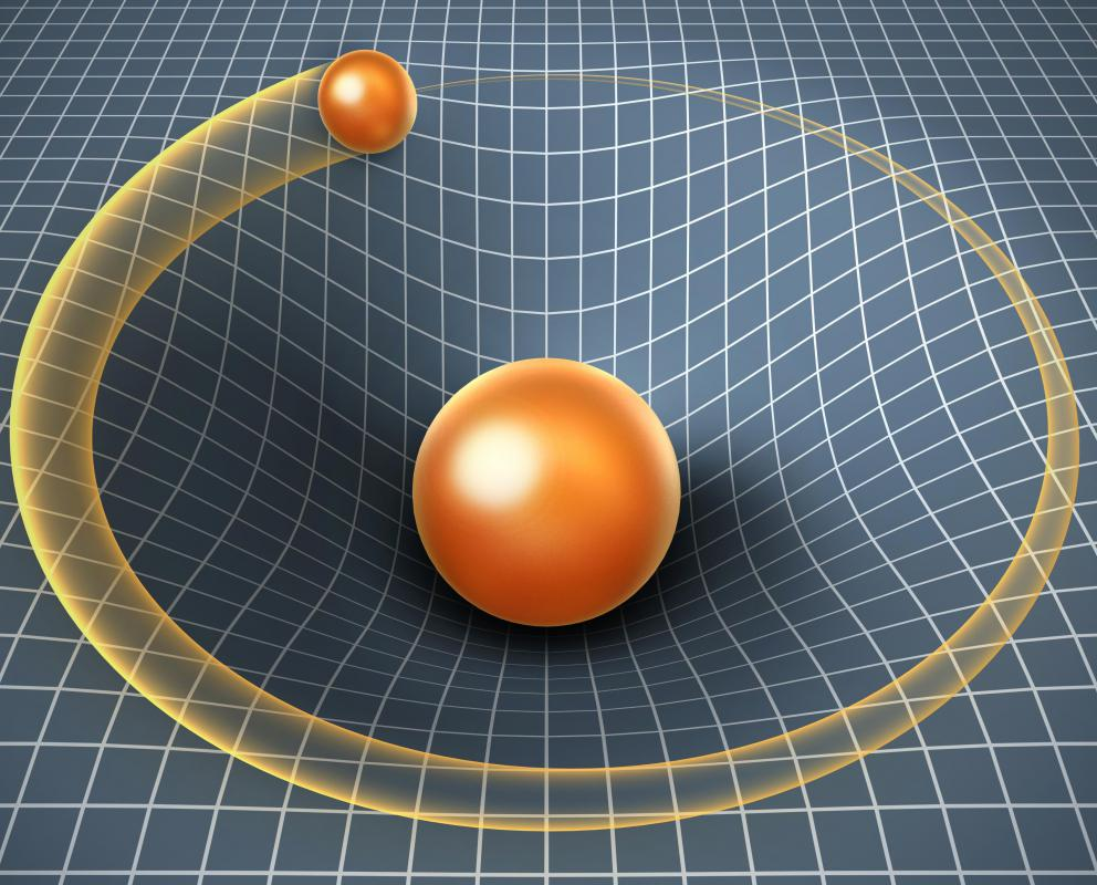 In theory, gravity from a massive object bends space-time around it.