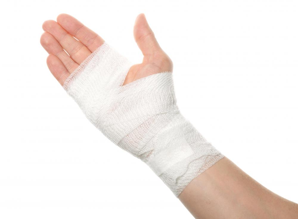 Gauze covers larger wounds and is easier to apply around extremities of the body such as hands, feet/ankles, or arms.