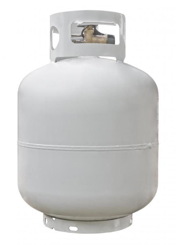 A propane tank for a canning stove.