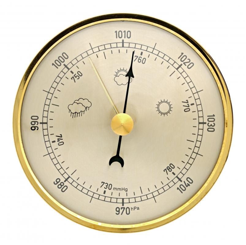 Barometer showing a reading of 1012 hectopascals.