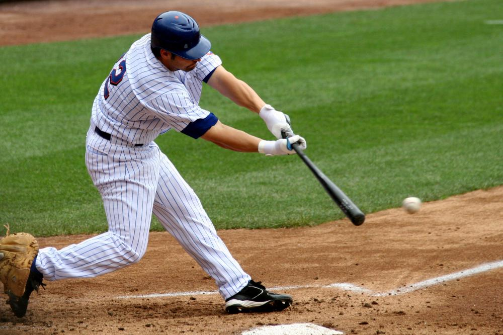 A man playing baseball.