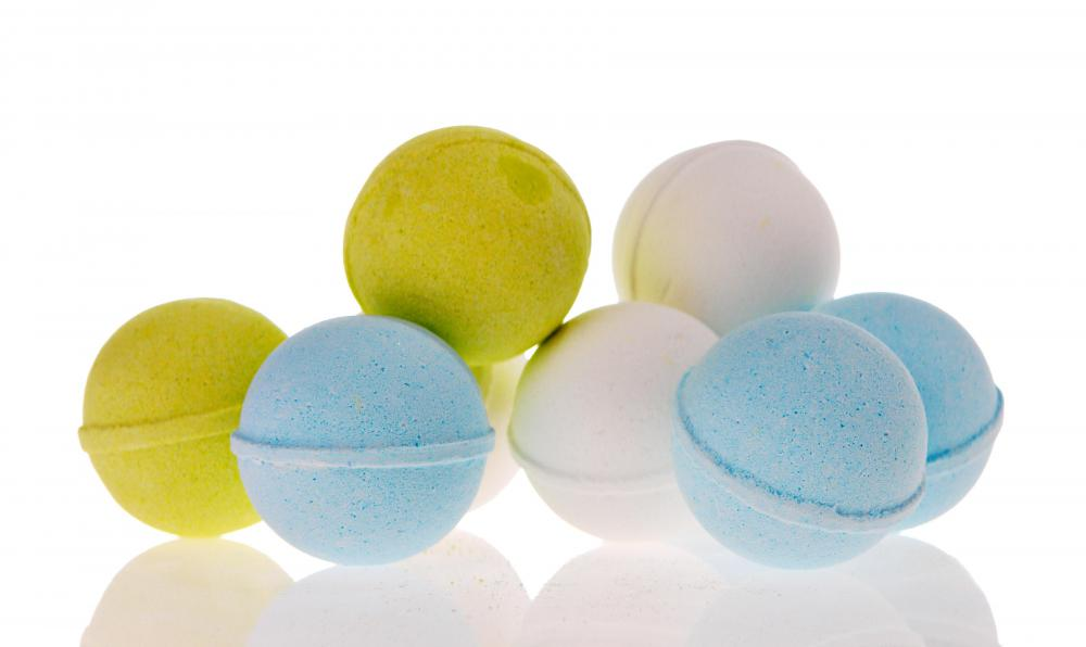 Bath fizzies, also called bath bombs.