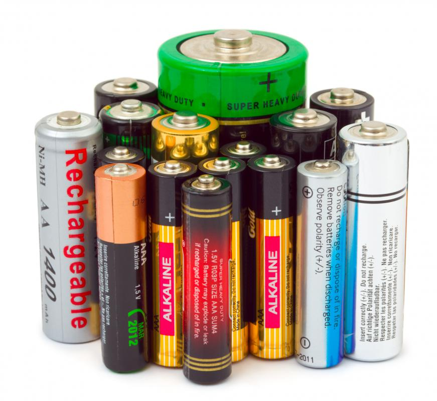 Batteries, including some rechargeable ones.