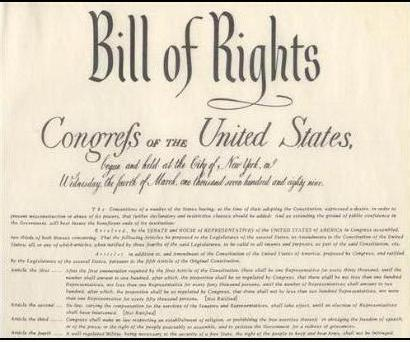 The Bill of Rights includes the first ten amendments to the US Constitution.