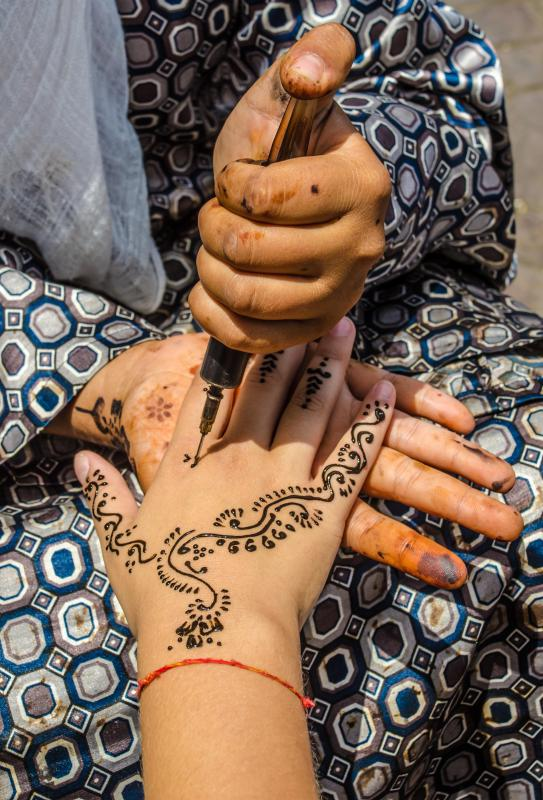 Arabic mehndi are temporary tattoos applied with henna.