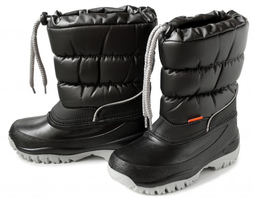 Winter boots should be worn when shoveling snow.