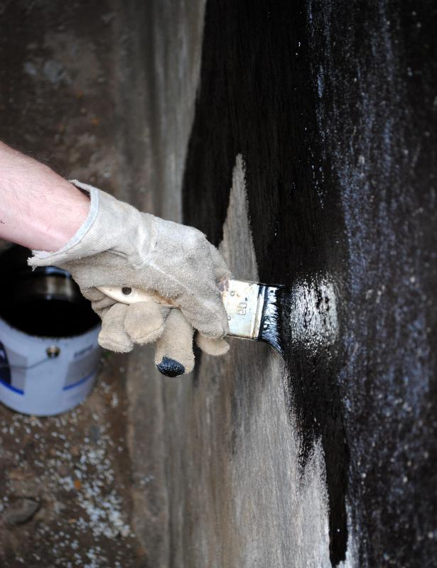 Cement waterproofing is often applied as a latex mix.