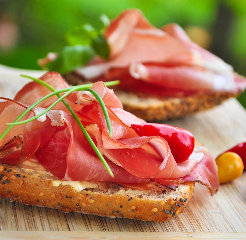Black Forest ham is characterized by its deep red color and rich flavor.