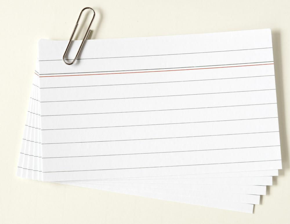 Index cards are very helpful study aids for teachers and students.