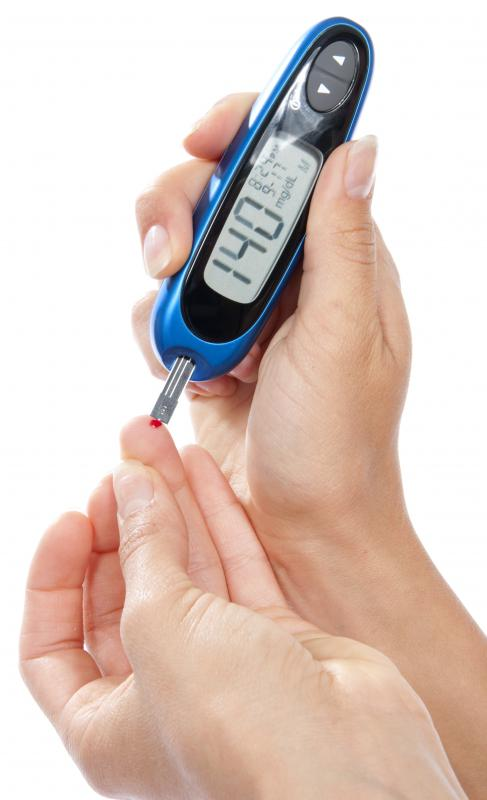 Portable glucose meters are used to check blood sugar levels.