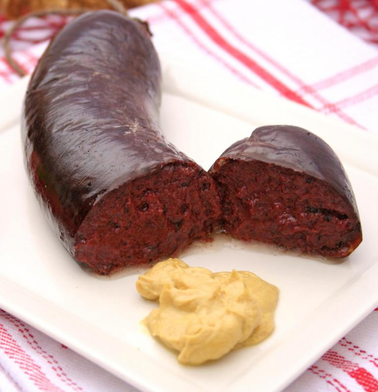 Blood sausage, which is often served with a traditional Scottish breakfast.