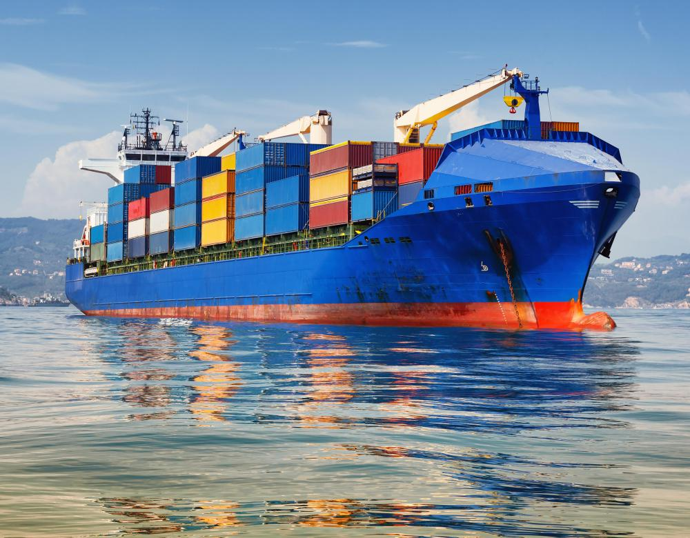 Container ships move dry goods all over the world in cargo containers.