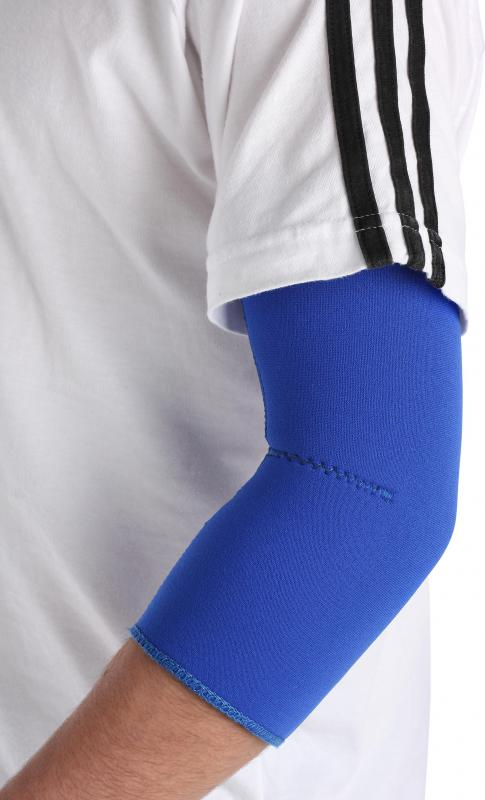 An elbow sleeve provides pressure and support for muscles and connective tissues in those with tennis elbow, which can cause arthralgia and myalgia.