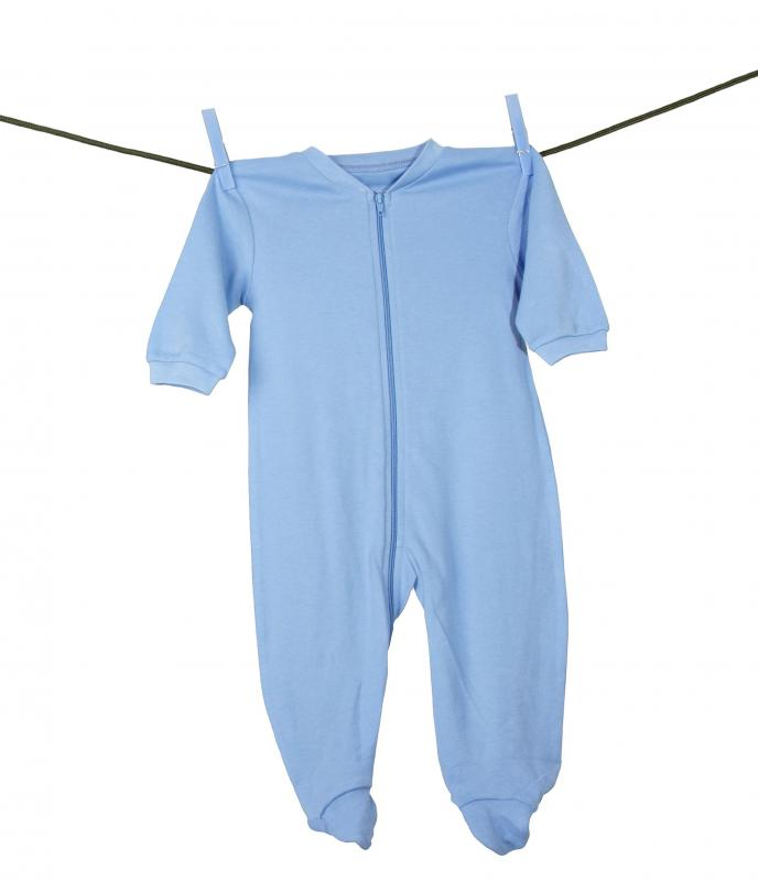 A child's blue onesie pajamas.
