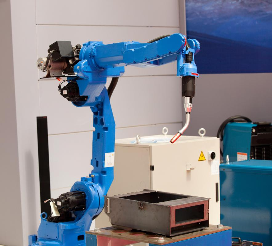 Waterjet cutting can be conducted with the assistance of a robotic arm.
