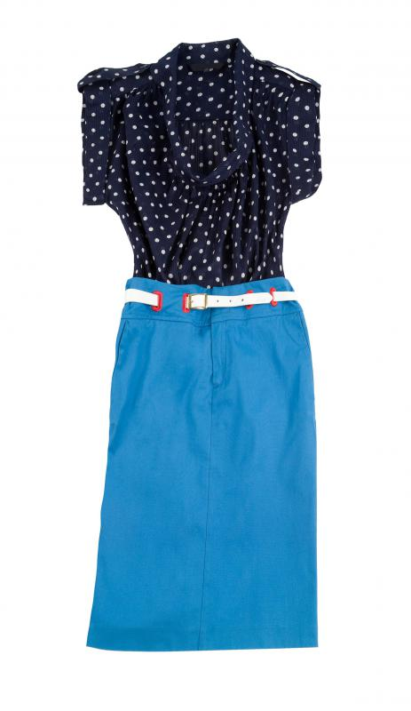 "Skirts and patterned blouses are often categorized as ""dressy casual"" attire."