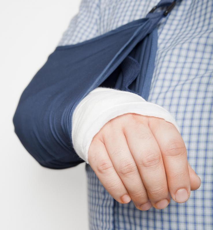 A sling may be used to immobilize the injured or healing wrist.
