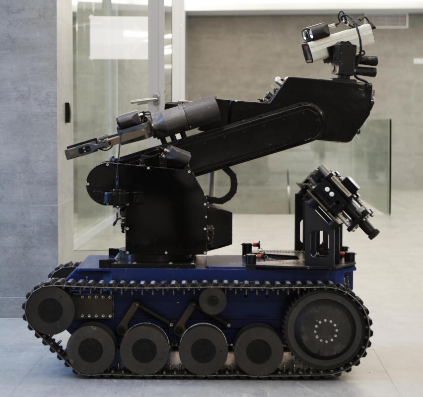 The chassis used by bomb-defusing robots can also be used to carry mine detection equipment.