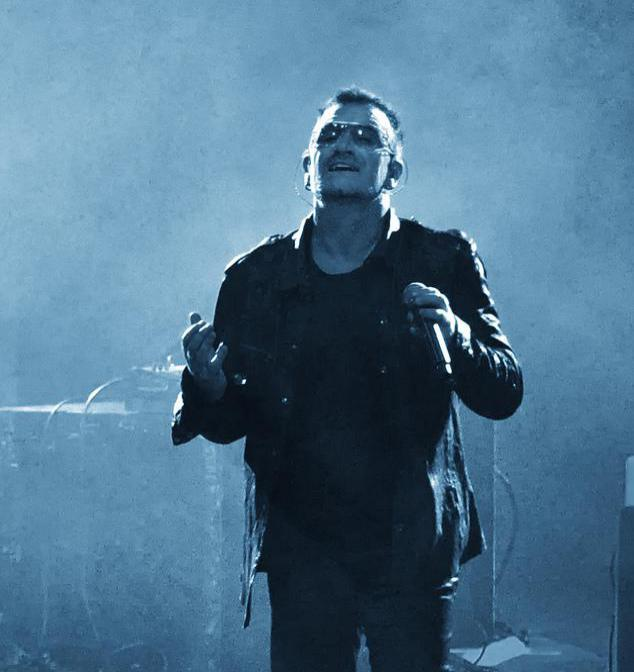 Bono is the lead singer of the musical group U2.