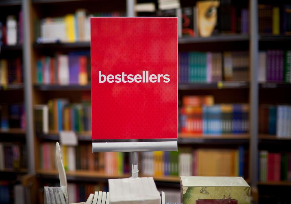 Bookstores will often advertise the more-popular books.